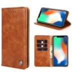Non-Magnetic Leather Wallet Stand Phone Cover Case for Samsung Galaxy A71 SM-A715 – Light Brown