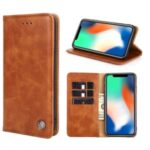 Flip Retro Leather Wallet Phone Case with Stand for Samsung Galaxy A31 – Brown