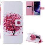 Patterned Leather Shell with Wallet Stand Phone Case for Samsung Galaxy Note20 Ultra / Note20 Ultra 5G – Pink Flower Tree