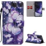 Light Spot Decor Patterned Leather Phone Case with Strap for Samsung Galaxy Note20 Ultra / Note20 Ultra 5G – Purple Butterflies