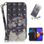 Light Spot Decor Pattern Printing Wallet Stand Leather Phone Cover with Strap for Samsung Galaxy A01 Core – Cat