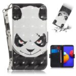 Light Spot Decor Pattern Printing Wallet Stand Leather Phone Cover with Strap for Samsung Galaxy A01 Core – Panda