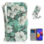 Light Spot Decor Pattern Printing Wallet Stand Leather Phone Cover with Strap for Samsung Galaxy A01 Core – White Flower