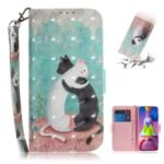 Light Spot Decor Pattern Printing Wallet Stand Leather Phone Case with Strap for Samsung Galaxy M51 – Couple Cats