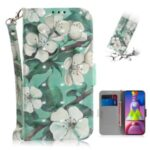 Light Spot Decor Pattern Printing Wallet Stand Leather Phone Case with Strap for Samsung Galaxy M51 – White Flowers