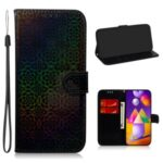 Flower Pattern Leather Wallet Phone Case with Stand for Samsung Galaxy M31s – Black