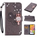 Rhinestone Decoration Imprint Owl Leather Shell Wallet Stand Phone Cover for Samsung Galaxy A01 Core – Grey