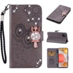 Rhinestone Decoration Imprint Owl Leather Shell Wallet Stand Phone Cover for Samsung Galaxy A42 5G – Grey