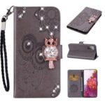 Rhinestone Decoration Imprint Owl Leather Shell Wallet Stand Phone Cover for Samsung Galaxy S20 FE/S20 Fan Edition/S20 FE 5G/S20 Fan Edition 5G – Grey