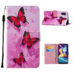 Leather Phone Wallet Protective Case Pattern Printing for Samsung Galaxy A11/M11 – Red Butterfly