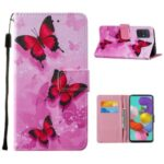 Leather Wallet Phone Cover Shell with Stylish Pattern Printing for Samsung Galaxy A51 SM-A515 – Red Butterfly