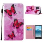 Leather Pattern Printing Phone Protective Case with Card Slots and Cash Pocket for Samsung Galaxy A71 SM-A715 – Red Butterfly