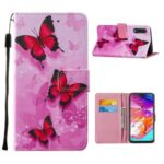 Leather Phone Cover Case with Pattern Printing for Samsung Galaxy A70 – Red Butterfly