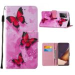 Wallet Stand Leather Phone Cover Case with Pattern Printing for Samsung Galaxy Note20 Ultra/Note20 Ultra 5G – Red Butterfly