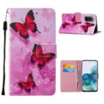Leather Wallet Stand Phone Protective Case Pattern Printing for Samsung Galaxy S20 Plus/S20 Plus 5G – Pink Butterfly
