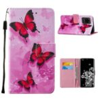 Pattern Printing Leather Phone Wallet Stand Protective Case for Samsung Galaxy S20 Ultra – Red Butterfly