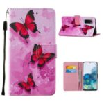 Pattern Printing Leather Phone Cover Case with Cards Slots for Samsung Galaxy S20 – Red Butterfly