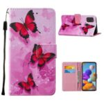Personalized Pattern Printing Leather Phone Protective Case for Samsung Galaxy A21s – Red Butterfly