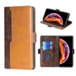 Contrast-Color Leather Wallet  Phone Cover Case for Samsung Galaxy M31s – Light Brown/Brown