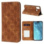 Imprint Flower Surface Auto-absorbed Cover with Card Slots for Honor 9X Lite – Brown