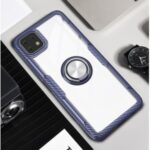 Finger Ring Built-in Metal Sheet Clear PC + TPU Mobile Shell for Huawei Enjoy 20 5G – Navy Blue