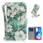 Light Spot Decor Pattern Printing Wallet Stand Flip Leather Case with Strap for Motorola Moto G9 Play/E7 Plus/G9 (India) – White Flowers