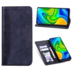Business Splicing Stand Wallet Leather Protector Phone Cover for Xiaomi Redmi Note 9 – Dark Blue