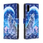Light Spot Decor 3D Patterned Leather Case Mobile Phone Cover for Xiaomi Redmi 9A – Wolf and Moon