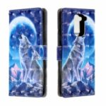 PU Leather 3D Patterned Light Spot Decor Phone Case for Xiaomi Redmi Note 9 – Wolf and Moon