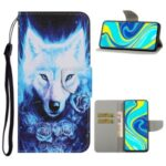 Pattern Printing Leather Wallet Stylish Stand Case with Handy Strap for Xiaomi Redmi Note 9S/Note 9 Pro/Note 9 Pro Max – Wolf
