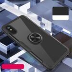 Clear PC + TPU Phone Cover with Finger Ring [Built-in Metal Sheet] for Xiaomi Redmi 9A – Black