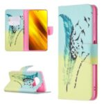 Pattern Printing Leather Wallet Protective Shell for Xiaomi Poco X3 – Feather