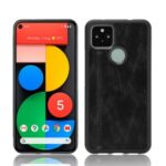 PC + TPU Hybrid Case PU Leather Coated Phone Cover for Google Pixel 4a 5G – Black