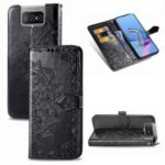 Embossed Mandala Flower Wallet Leather Shell for Asus Zenfone 7 ZS670KS – Black
