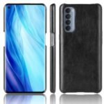 Litchi Skin Leather Coated PC Back Shell for Oppo Reno4 Pro 4G – Black