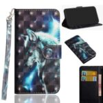 Light Spot Decor Pattern Printing Wallet Stand Leather Shell with Strap for OPPO Find X2 Neo 4G – Wolf