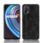 PU Leather Coated PC + TPU Hybrid Cell Phone Case for Realme X7 – Black