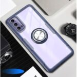 Finger Ring Built-in Metal Sheet Clear PC + TPU Phone Cover for Oppo Reno4 5G – Navy Blue