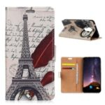 Pattern Printing Leather Wallet Stand Case for Nokia 3.4 – Eiffel Tower and Characters