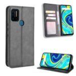Retro Style Stand Wallet PU Leather Phone Cover for Umidigi A7 – Black