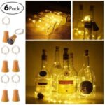 2m 20-LED Waterproof Copper Wire Wine Bottle String Festival Decor (6 PCS/Pack with screws) – Warm White