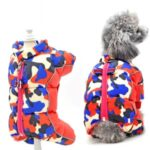 TG-CL060 Camouflage Splicing Pet Dog Zipper Coat Waterproof Winter Puppy Outwear – Red Camouflage/Size 8