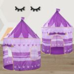 Portable Kids Indoor Outdoor Game Play Tent Yurt Castle – Purple Crown