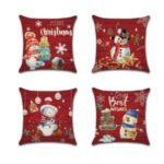 4Pcs 45 x 45cm Red Merry Christmas Pillowcase Linen Snowman Pillow Cover