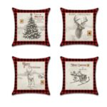 4Pcs 45 x 45cm Christmas Pillowcase Linen Square Pillow Cover