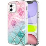 Pattern Printing Electroplating Phone Cover Case for iPhone 12 mini – Pink/Green Geometry