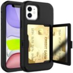 Acrylic Card Holder and Hidden Mirror Shockproof Protective Cover for iPhone 12 Pro Max – Black