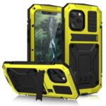 Shockproof Metal + Tempered Glass + TPU Reinforced Protector Case for iPhone 12 Pro Max – Yellow