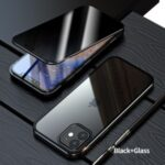 Anti-peep Magnetic Installation Metal Frame Two-sided Tempered Glass Case for iPhone 12 Pro/12 – Black