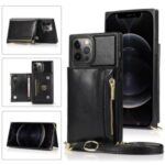 Zippered Wallet Phone Protective Case with Kickstand and Shoulder Strap for iPhone 12 Pro Max – Black